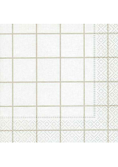 20 Serviettes torchon à carreaux blanc