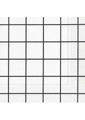 20 Serviettes torchon à carreaux noir & blanc