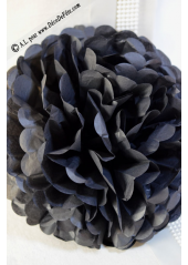 3 fleurs pompon papier noir 30cm