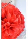 3 fleurs pompon papier rouge 30cm