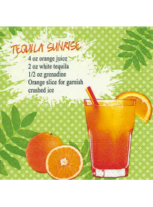 20 Serviettes Cocktail tequila sunrise