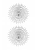 2 éventails de papier blanc 20cm
