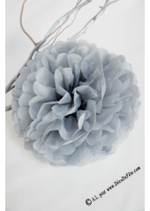 3 fleurs pompon papier gris 30cm