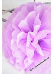 3 fleurs pompon papier mauve 30cm