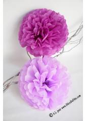 3 fleurs pompon papier aubergine 30cm