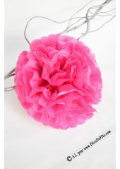 3 fleurs pompon papier fushia 30cm