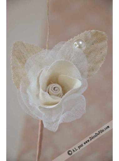 1 rose bouton lin et perle AGATHE