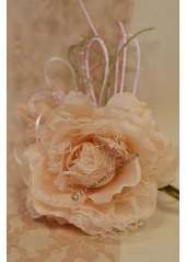1 rose MAGDA dentelle taupe