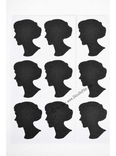 12 Etiquettes VISAGE femme sticker