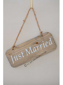 1 pancarte bois JUST MARRIED 25cm