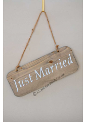 1 pancarte bois JUST MARRIED 25cm