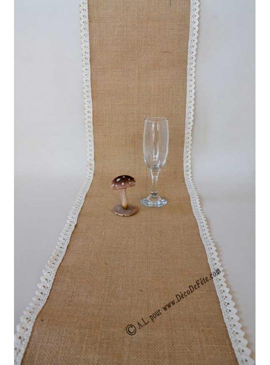 Chemin de table toile de jute et dentelle chemin de table jute mariage dans chemin de table en - Chemin de table toile de jute et dentelle ...