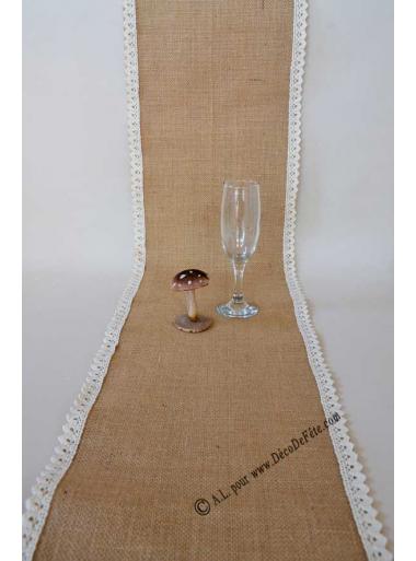 5m chemin de table jute lena 30cm bord dentelle. Black Bedroom Furniture Sets. Home Design Ideas