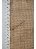 5M chemin de table jute LENA 30cm bord dentelle