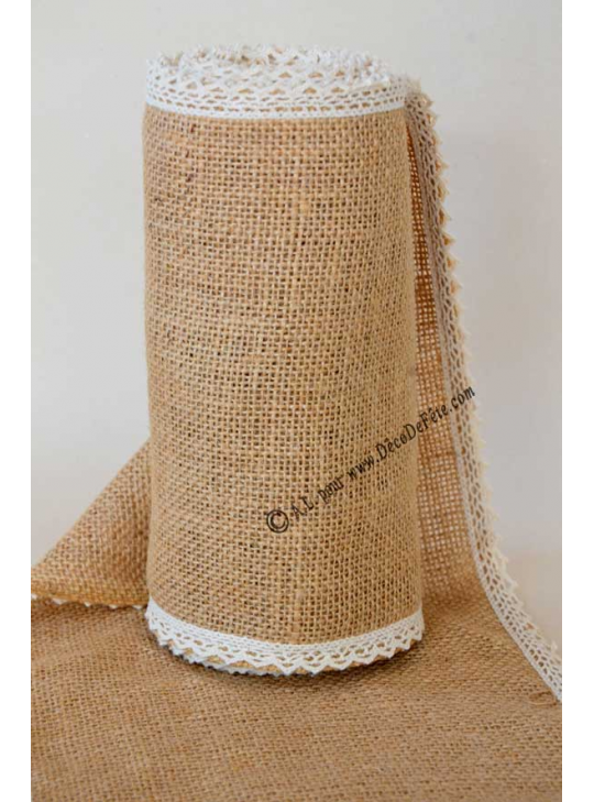 5m Chemin De Table Jute Tessa 20cm Bord Dentelle