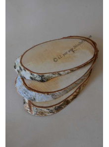 3 tranches de bois 30cm ovales
