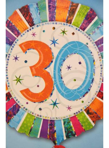 1 ballon hélium anniversaire 30