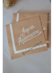 20 serviettes JOYEUX ANNIVERSAIRE