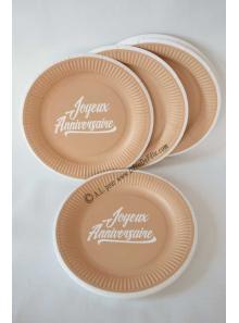 12 assiettes JOYEUX ANNIVERSAIRE