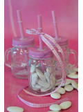 1 mini mason jar paille ROSE