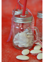 1 mini mason jar paille ROUGE