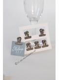 6 Pinces clip ACIER retro