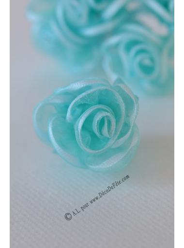 6 Fleurs organza aqua