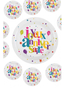 10 Assiettes joyeux anniversaire multicolore