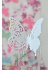 10 marque-verres papillon BLANC