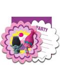 6 cartes d'invitation & enveloppes Trolls