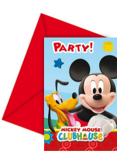 6 cartes d'invitation & enveloppes Mickey