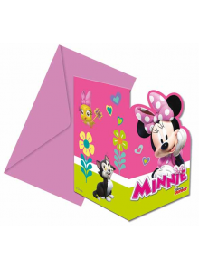 6 cartes d'invitation & enveloppes Minnie