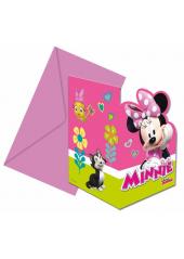 6 cartes d'invitation & enveloppes Minnie