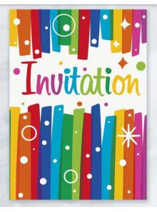 8 cartes d'invitation & enveloppes Arc en Ciel