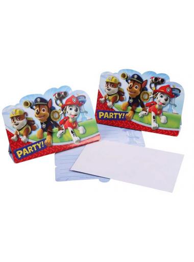 8 cartes d'invitation & enveloppes Pat Patrouille