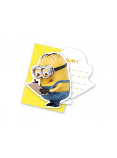 6 cartes d'invitation Anniversaire Minions Moi moche et méchant