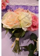 1 bouquet Romantique 7 roses et églantine