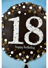1 ballon helium noir 18 happy birthday