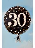 1 ballon hélium noir 30 happy birthday