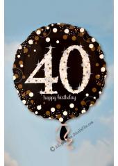 1 ballon hélium noir 40 happy birthday