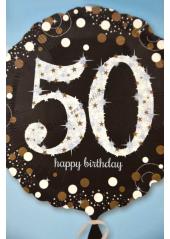 1 ballon hélium noir 50 happy birthday
