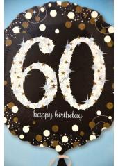 1 ballon hélium noir 60 happy birthday