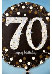 1 ballon hélium noir 70 happy birthday