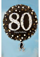 1 ballon hélium noir 80 happy birthday