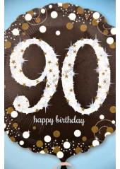 1 ballon hélium noir 90 happy birthday