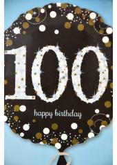 1 ballon hélium noir 100 happy birthday