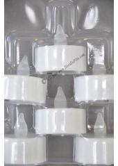 6 bougies LED chauffe plat blanc flamme