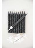 10 Bougies anniversaire noir paillettes