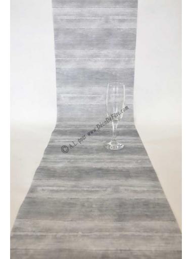 5m chemin de table planches de bois gris for Planche bois gris