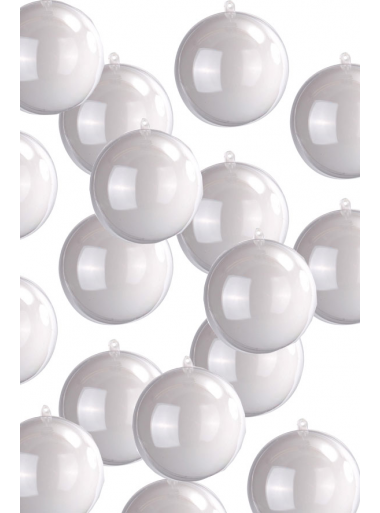 1 MINI Boule 3cm bicolores blanche